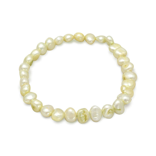 Lime Green Cultured Freshwater Pearl Stretch Bracelet - the-southern-magnolia-too