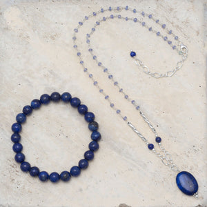 Lapis Bead Stretch Bracelet - the-southern-magnolia-too