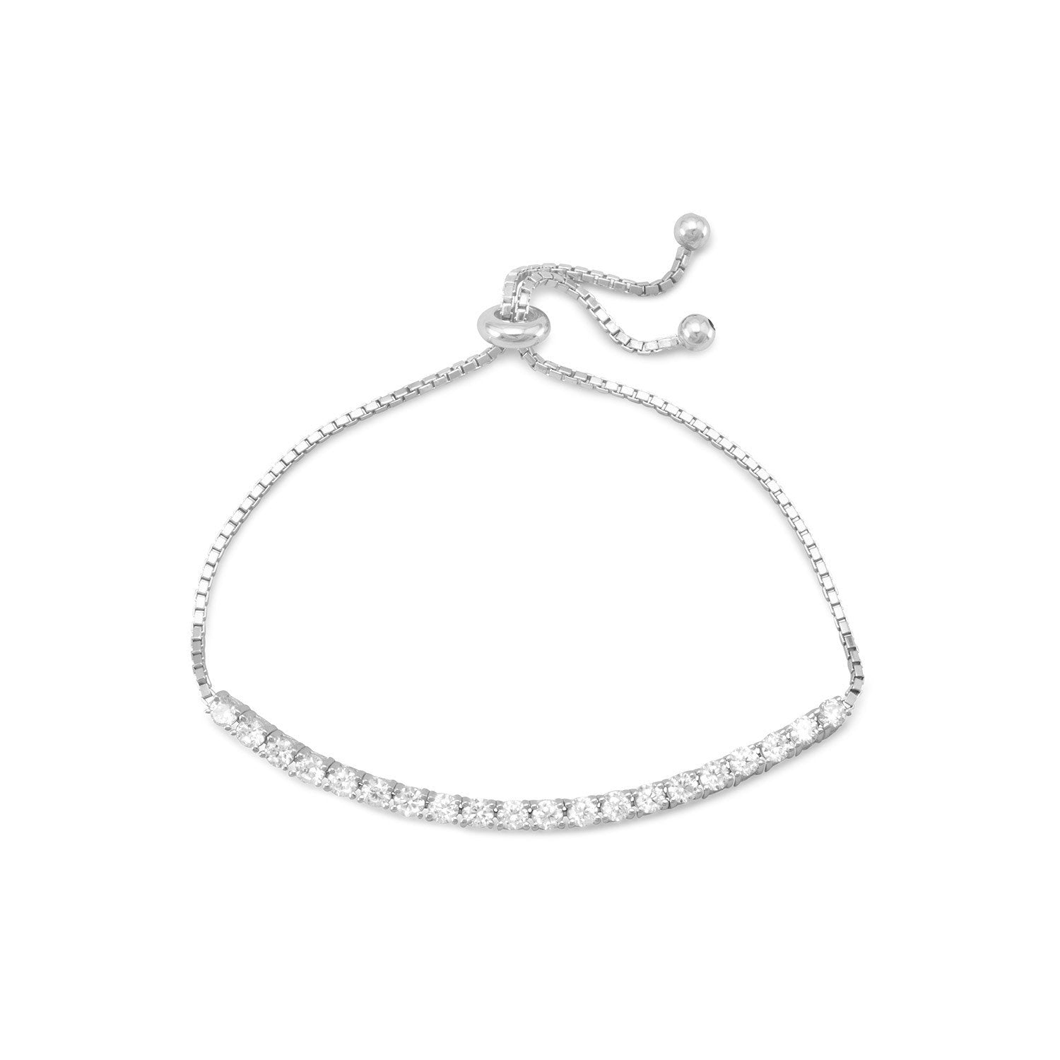 Rhodium Plated CZ Friendship Bolo Bracelet - the-southern-magnolia-too