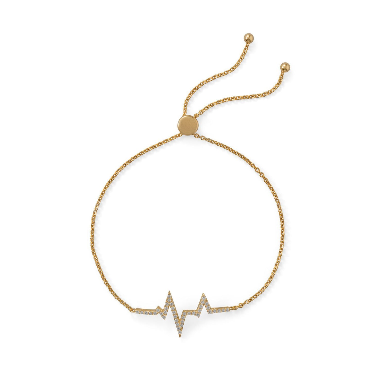 Gold Plated CZ Heartbeat Friendship Bolo Bracelet - the-southern-magnolia-too