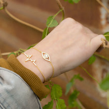 Load image into Gallery viewer, Gold Plated CZ Heartbeat Friendship Bolo Bracelet - the-southern-magnolia-too