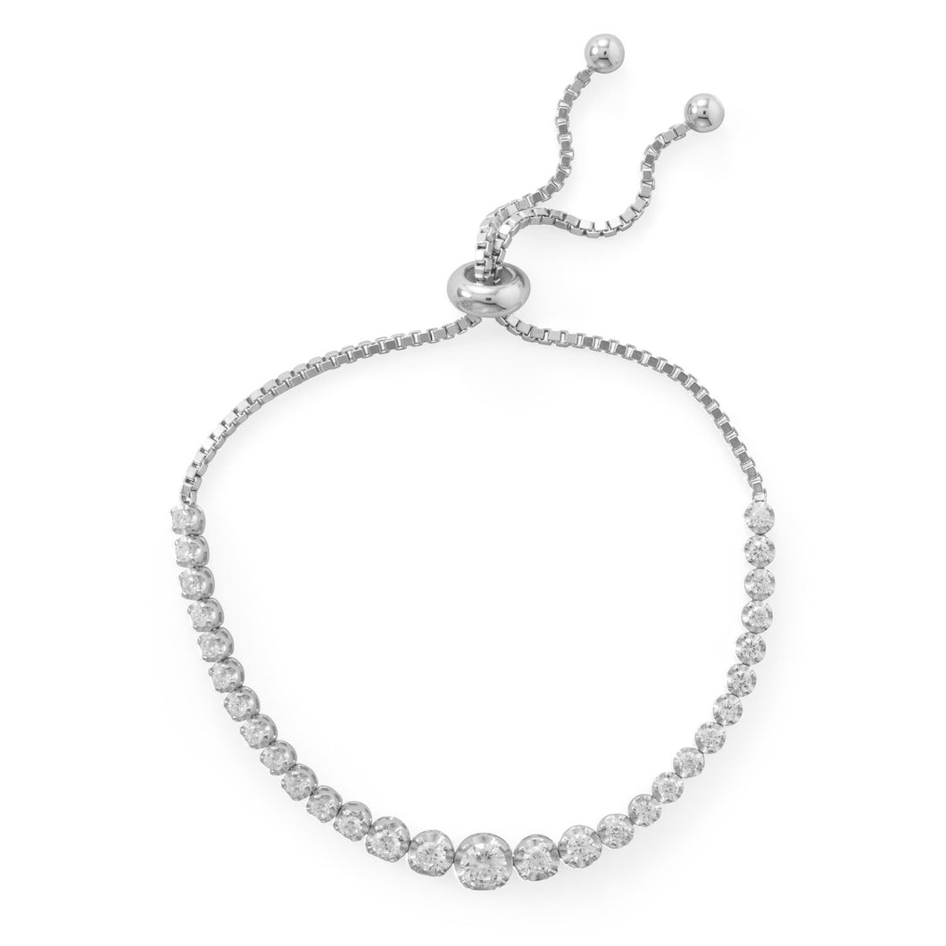 Rhodium Plated Graduated CZ Bolo Bracelet - the-southern-magnolia-too