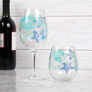 Summer Shell Starfish Acrylic Stemless Wine Glass Set***Available in June*** - the-southern-magnolia-too