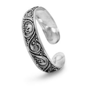 Silver Cuff Bracelet with Bead Filigree Design - the-southern-magnolia-too
