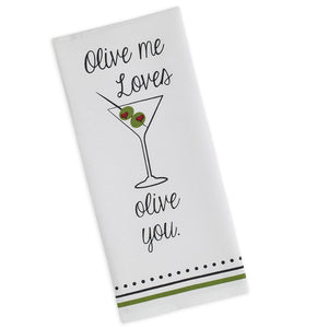 Olive You Printed Dishtowel - the-southern-magnolia-too