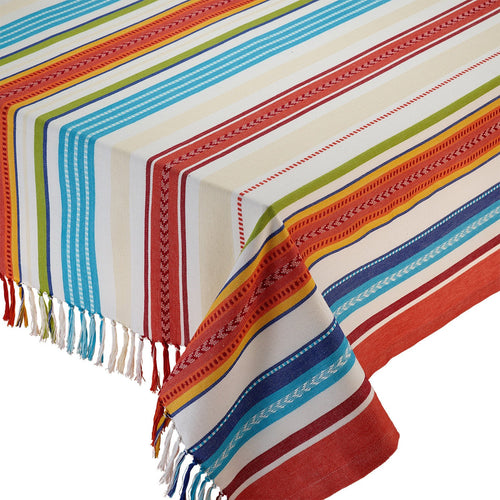 Baja Stripe Fringed Tablecloth - the-southern-magnolia-too