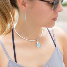 Load image into Gallery viewer, Pear Shape Larimar Pendant - the-southern-magnolia-too