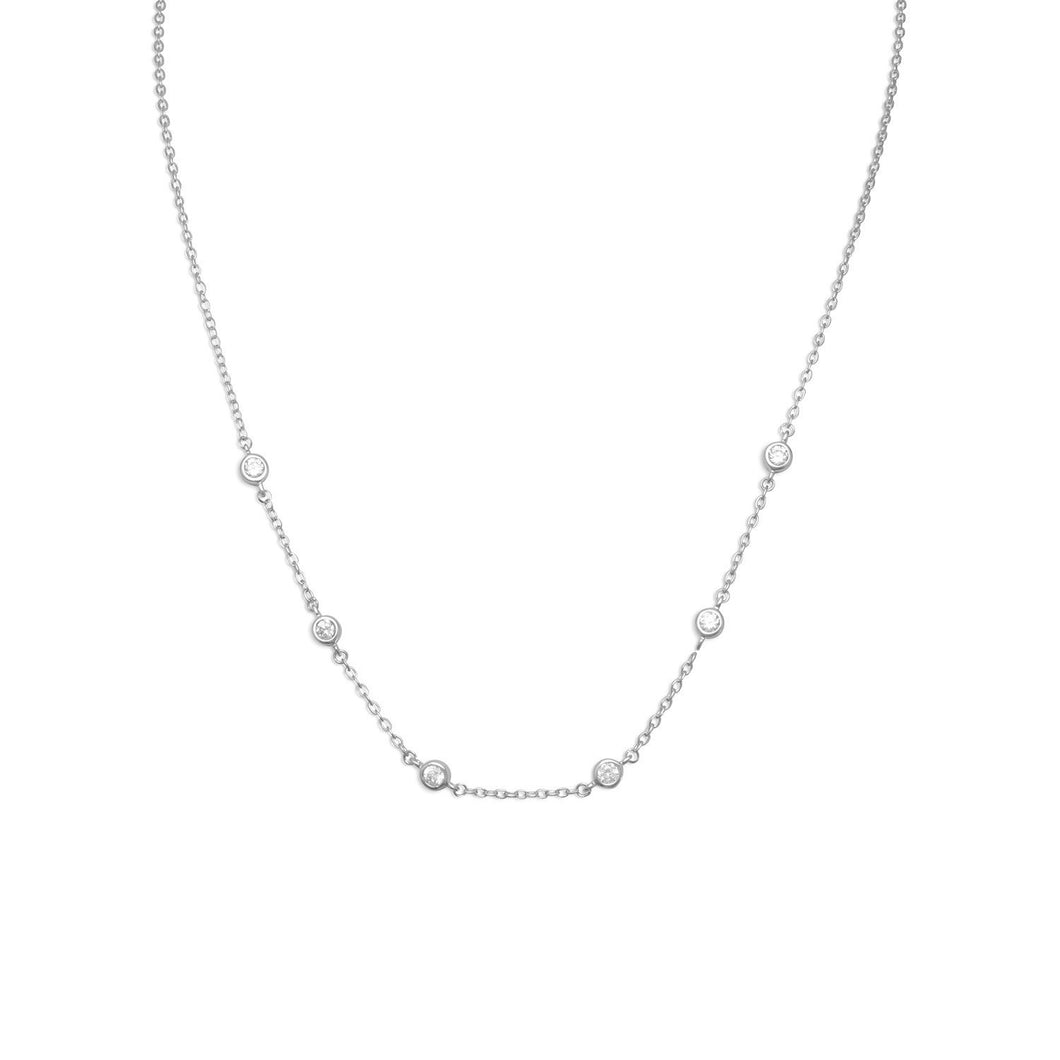 Rhodium Plated Bezel Set CZ Necklace - the-southern-magnolia-too