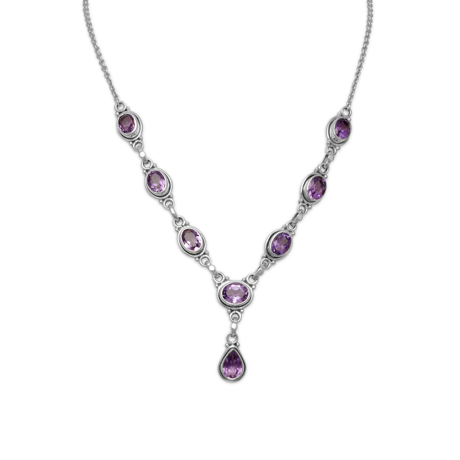 Extension Oval and Pear Shape Amethyst Necklace - the-southern-magnolia-too