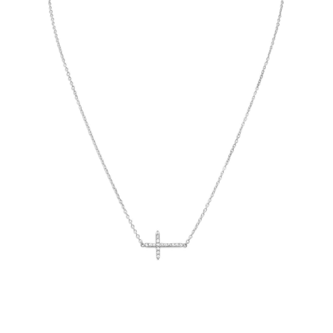 Rhodium Plated CZ Sideways Cross Necklace - the-southern-magnolia-too
