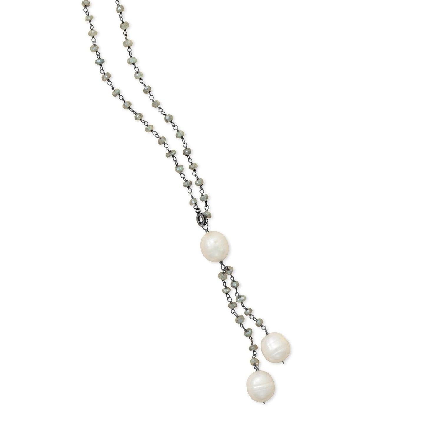 Labradorite Necklace with Cultured Freshwater Pearl Drop - the-southern-magnolia-too