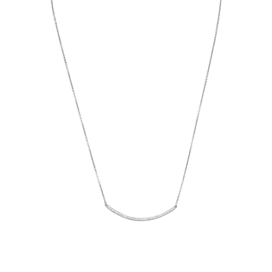 Rhodium Plated Curved CZ Bar Necklace - the-southern-magnolia-too