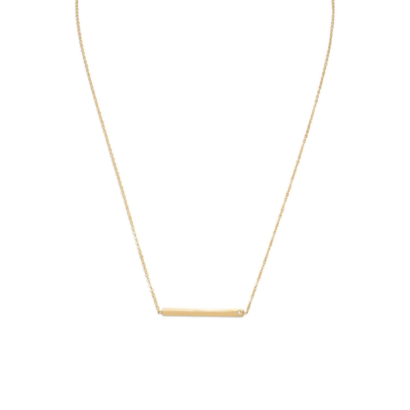 Gold Plated Bar Necklace with CZ - the-southern-magnolia-too