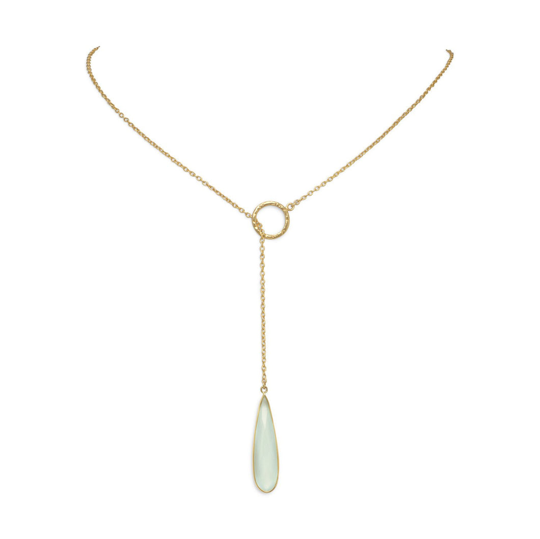 Gold Plated Lariat Necklace with Chalcedony Drop - the-southern-magnolia-too