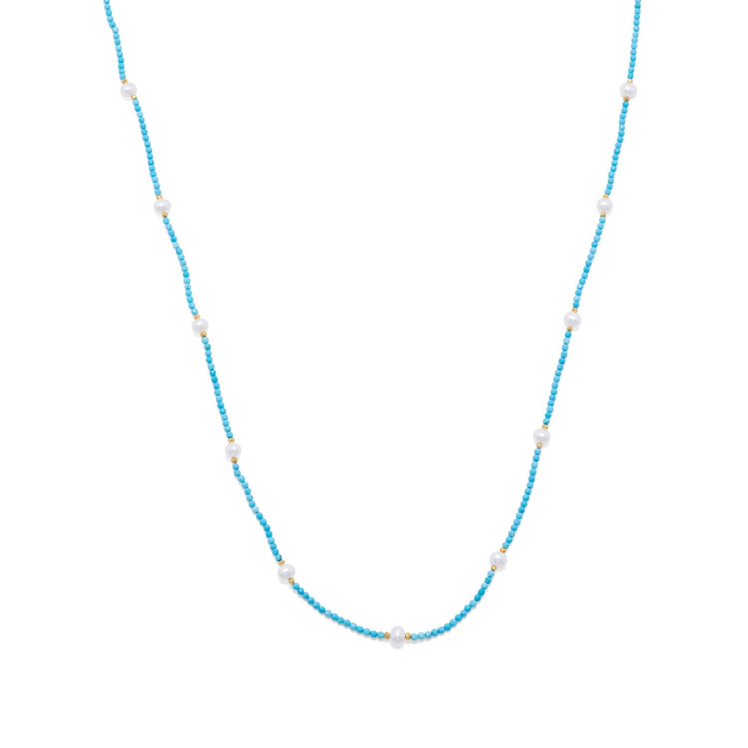 Endless Design Turquoise Magnesite and Cultured Freshwater Pearl Necklace - the-southern-magnolia-too