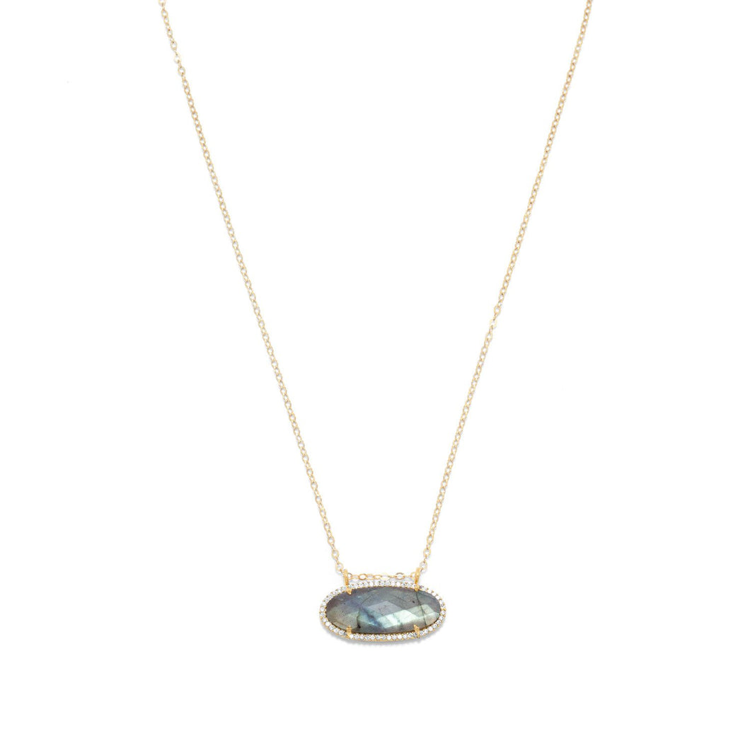 Gold Filled Labradorite Ellipse and CZ Edge Slide Necklace - the-southern-magnolia-too