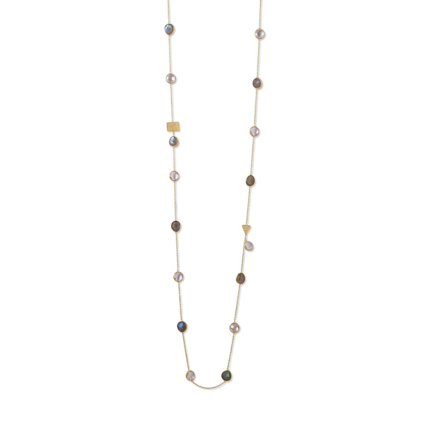 Gold Plated Labradorite and Clear Quartz Endless Necklace - the-southern-magnolia-too