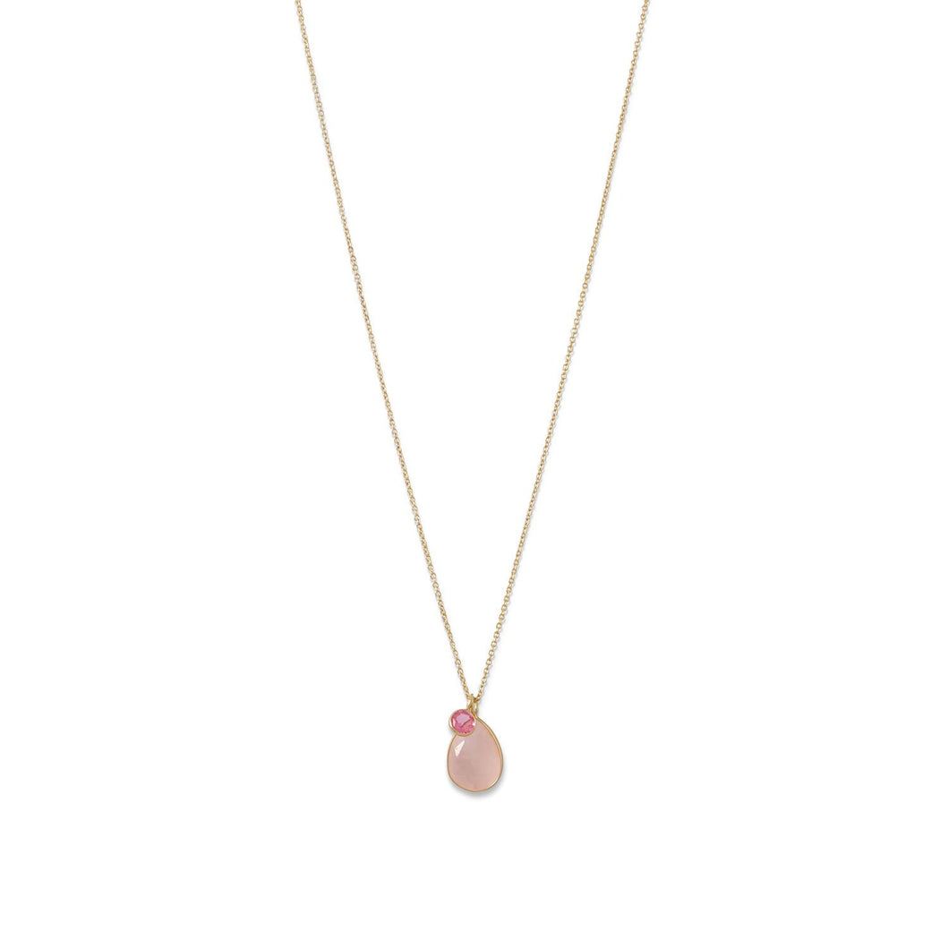 Gold Plated Rose Quartz and Pink Hydro Glass Necklace - the-southern-magnolia-too