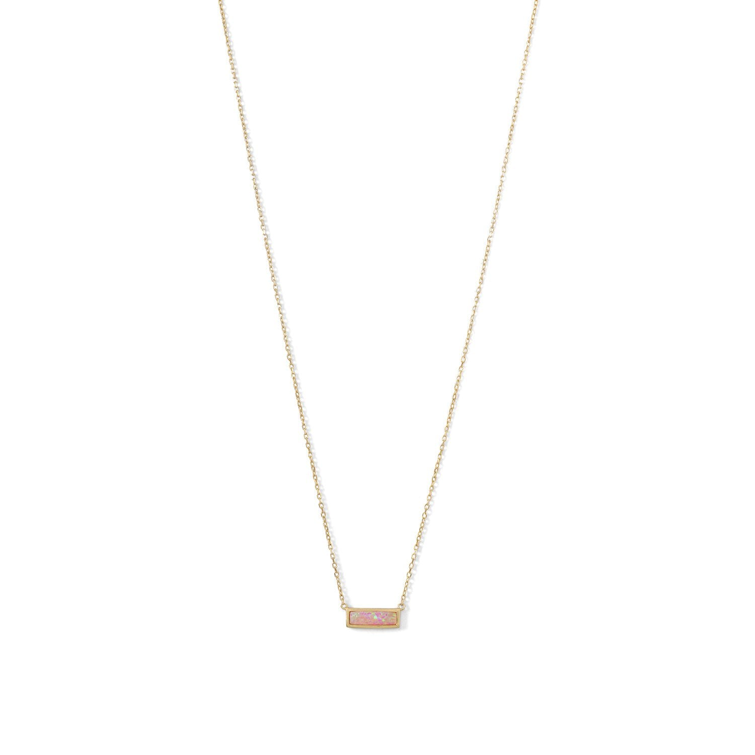 Mini Synthetic Pink Opal Bar Necklace - the-southern-magnolia-too