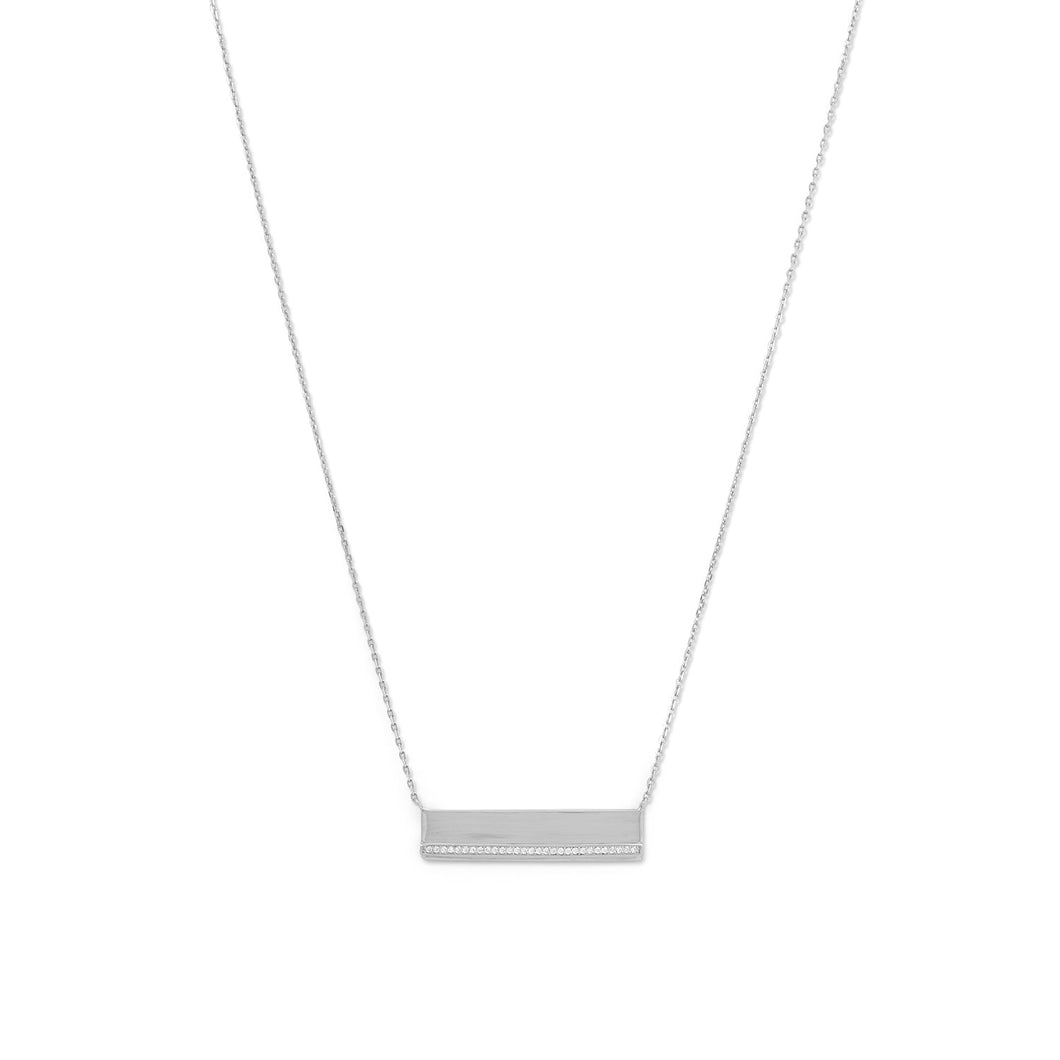Rhodium Plated CZ Polished Bar Necklace - the-southern-magnolia-too