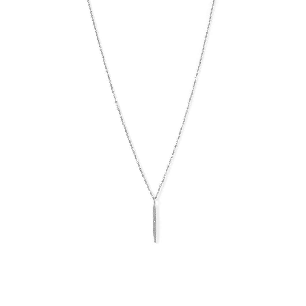 Rhodium Plated Vertical Bar Necklace with Diamonds - the-southern-magnolia-too