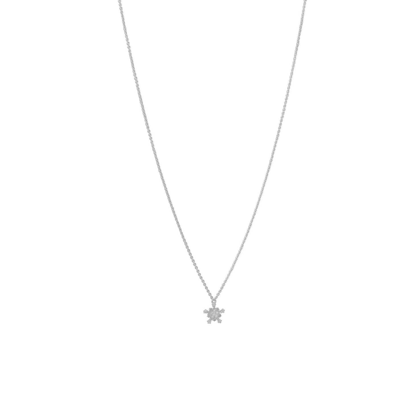 Rhodium Plated Tiny Snowflake CZ Necklace - the-southern-magnolia-too