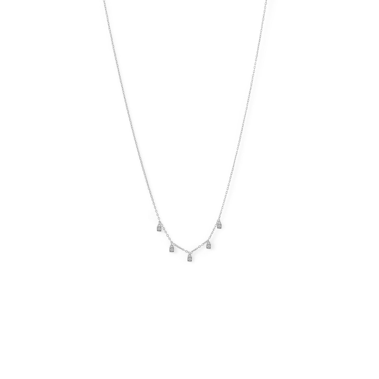 Rhodium Plated Dainty CZ Charm Necklace - the-southern-magnolia-too