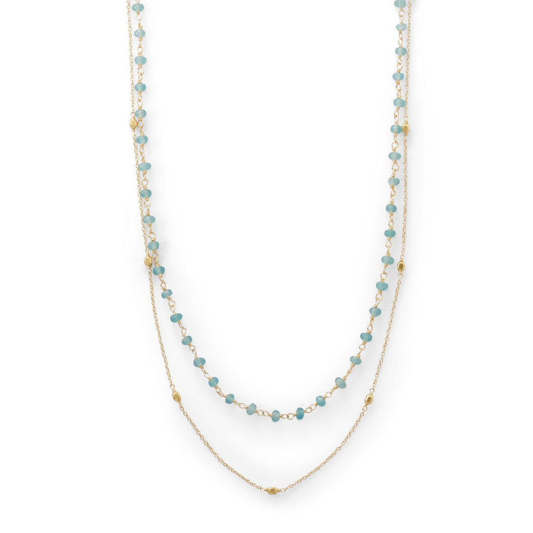 Two Strand 14 Karat Gold Plated Apatite Necklace - the-southern-magnolia-too