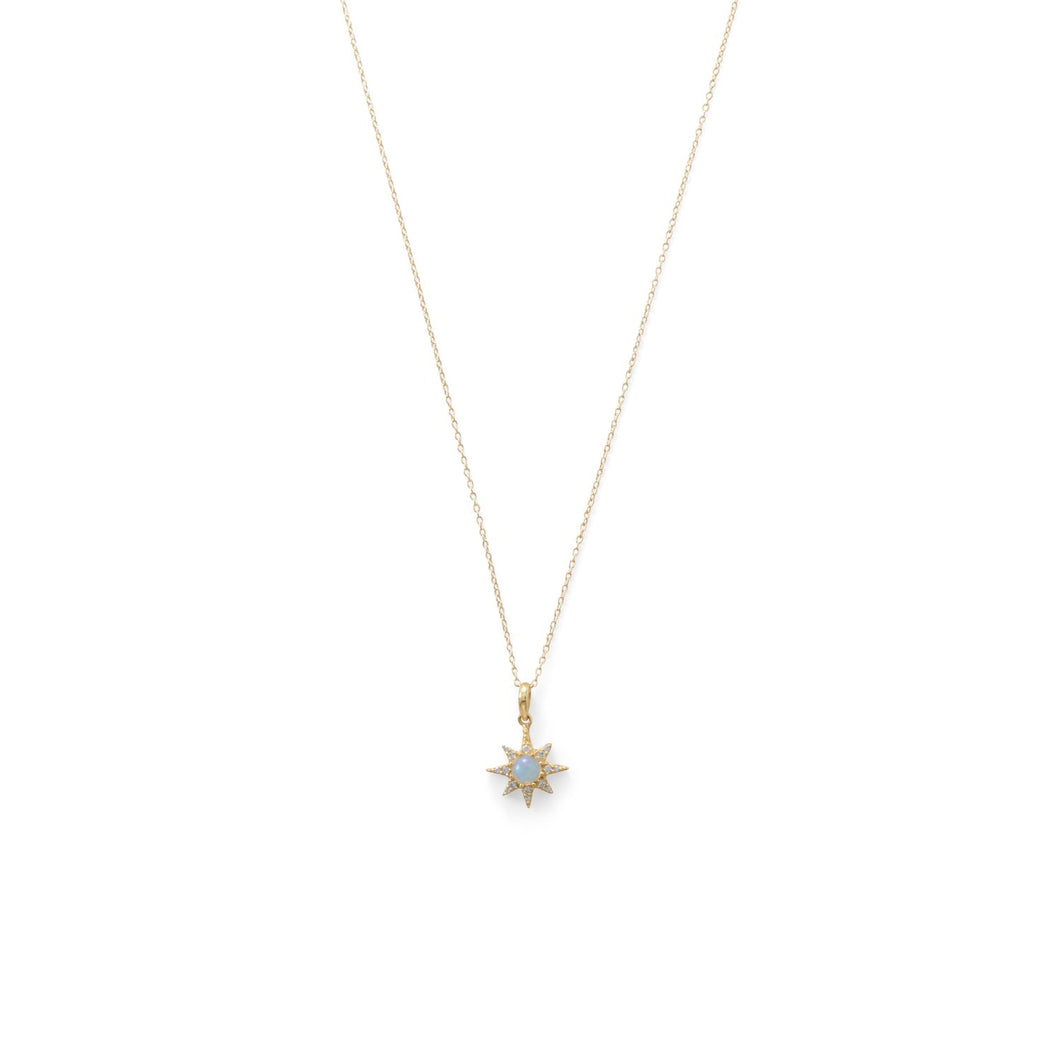Gold Plated CZ Star and Synthetic Opal Necklace - the-southern-magnolia-too