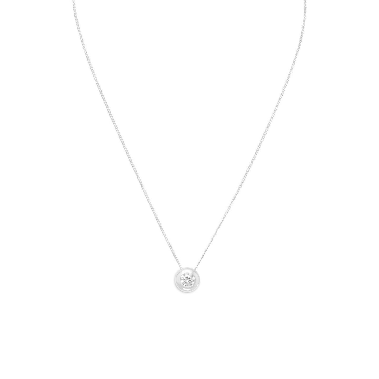 Necklace with Bezel Set CZ - the-southern-magnolia-too