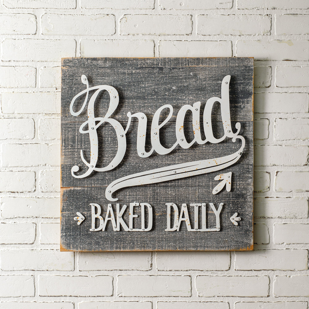 Wood and Metal Bread Baked Daily Wall Sign - the-southern-magnolia-too