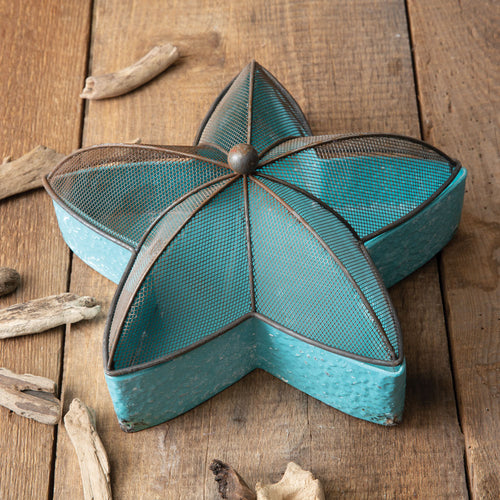 Teal Blue Metal Starfish Tray***Available in March*** - the-southern-magnolia-too
