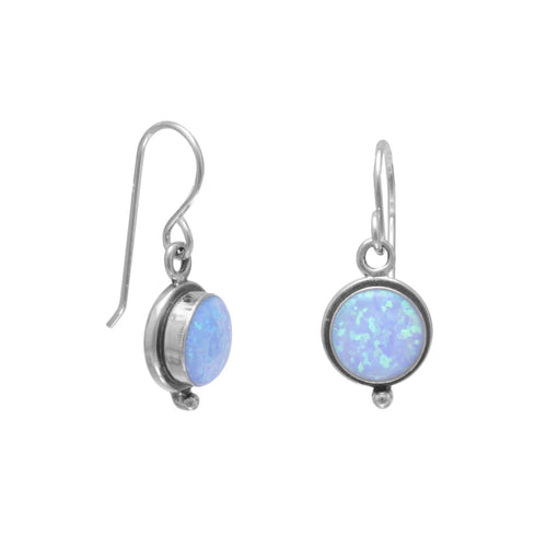 Synthetic Blue Opal French Wire Earrings - the-southern-magnolia-too
