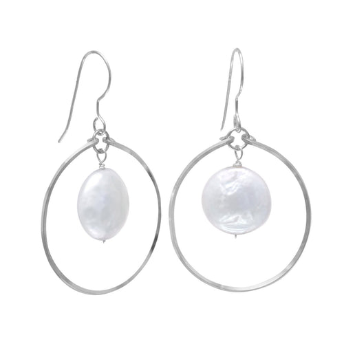 Open Circle French Wire Earrings with Coin Pearl Drop - the-southern-magnolia-too