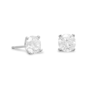 Rhodium Plated 6mm CZ Stud Earrings - the-southern-magnolia-too