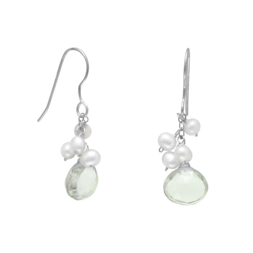 Prasiolite and Cultured Freshwater Pearl French Wire Earrings - the-southern-magnolia-too