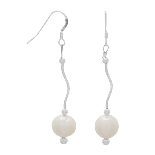 Wave Design Earrings with Cultured Freshwater Pearl Drop - the-southern-magnolia-too