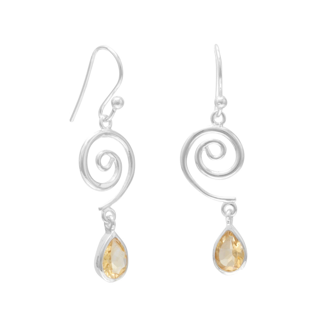 Swirl Design and Citrine Drop French Wire Earrrings - the-southern-magnolia-too