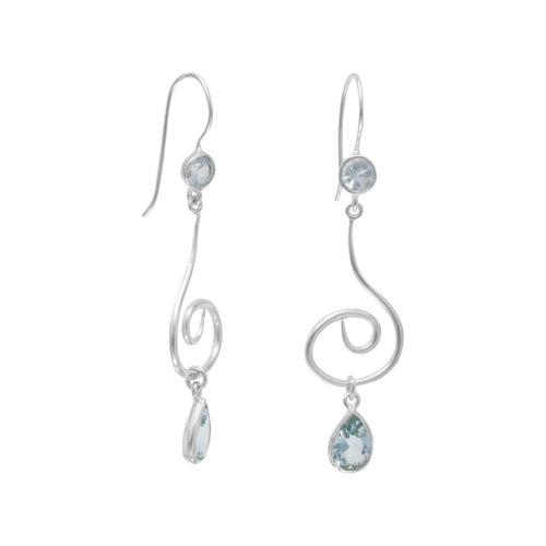 Swirl Design Earrings with Faceted Blue Topaz - the-southern-magnolia-too