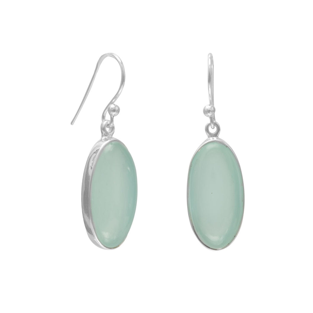 Oval Green Chalcedony French Wire Earrings - the-southern-magnolia-too