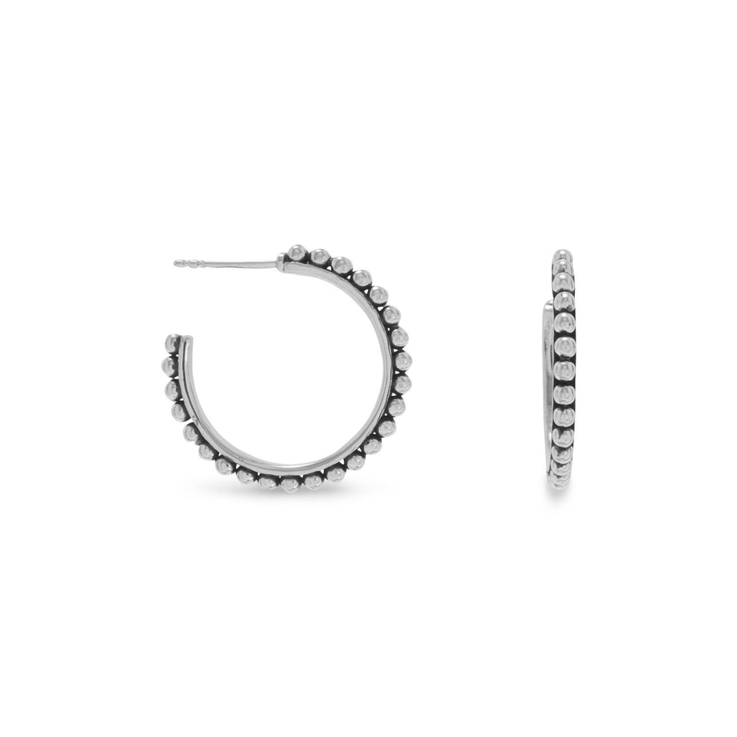 Oxidized Bead 3/4 Hoops - the-southern-magnolia-too