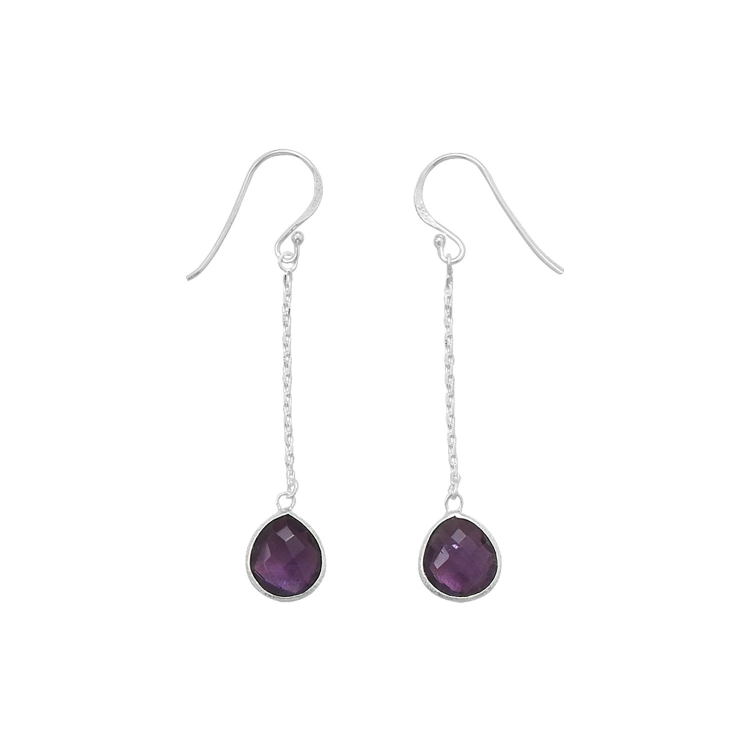 Amethyst Chain Drop Earrings - the-southern-magnolia-too