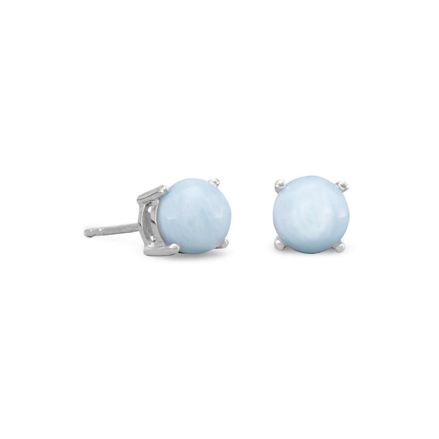 Rhodium Plated Larimar Stud Earrings - the-southern-magnolia-too