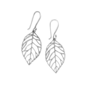 Oxidized Cut Out Leaf Drop Earrings - the-southern-magnolia-too
