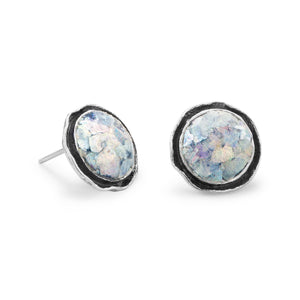 Round Oxidized Edge Roman Glass Earrings - the-southern-magnolia-too