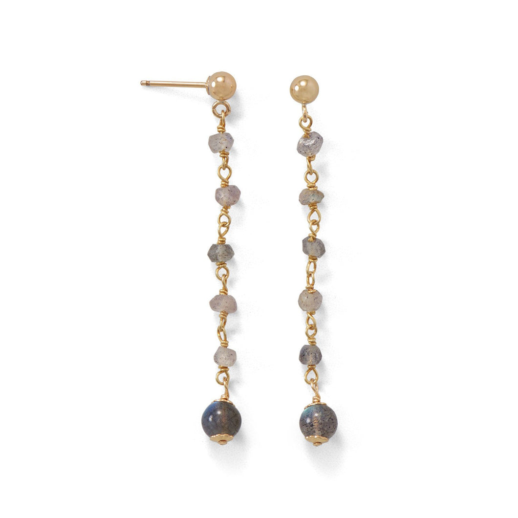Post Earrings with Labradorite Beads - the-southern-magnolia-too