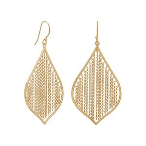 Gold Plated Fringe Leaf Earrings - the-southern-magnolia-too