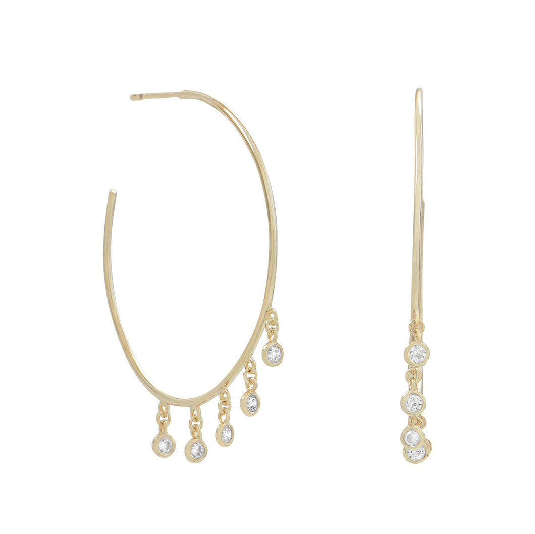 Gold Plated Dangling CZ Hoops - the-southern-magnolia-too