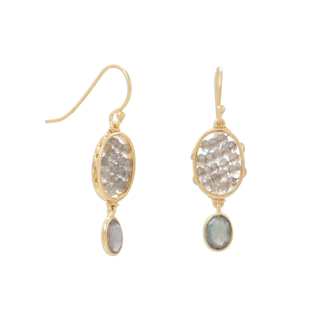 Gold Plated Labradorite French Wire Earrings - the-southern-magnolia-too
