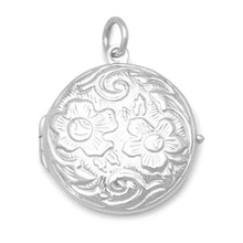 Load image into Gallery viewer, Round Floral Design Locket - the-southern-magnolia-too